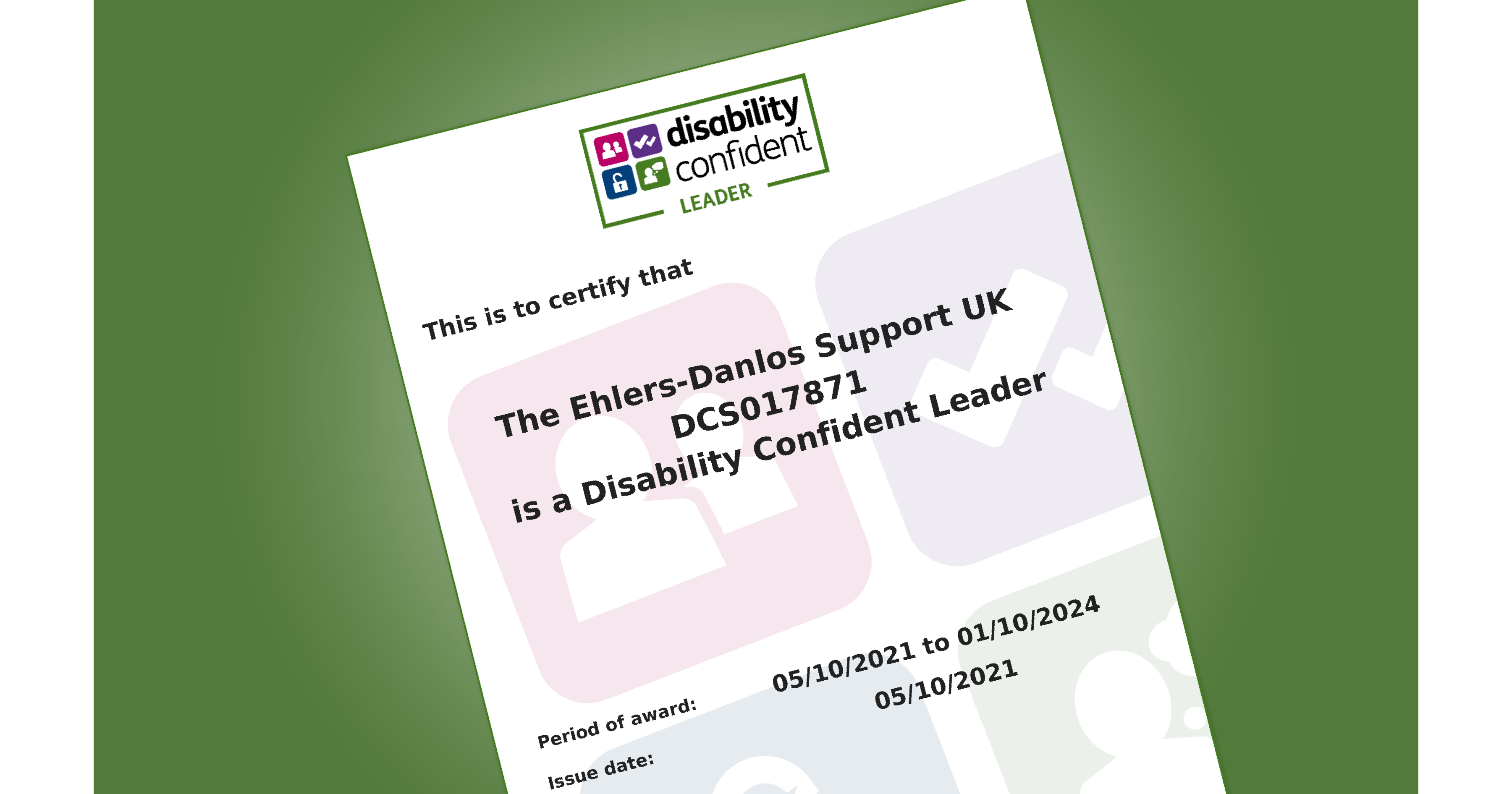 Certificate showing disability confident level 3 awarded to EDS UK